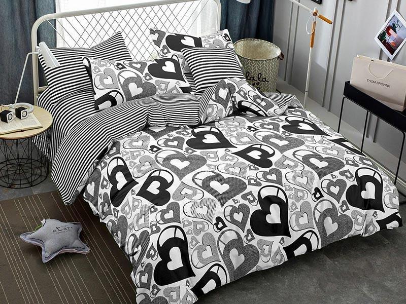 Lenjerie de pat pentru 1 persoana din bumbac satinat, Pucioasa, L'atelier Creatif, cu 4 piese (2 fete de perna) - Camelia