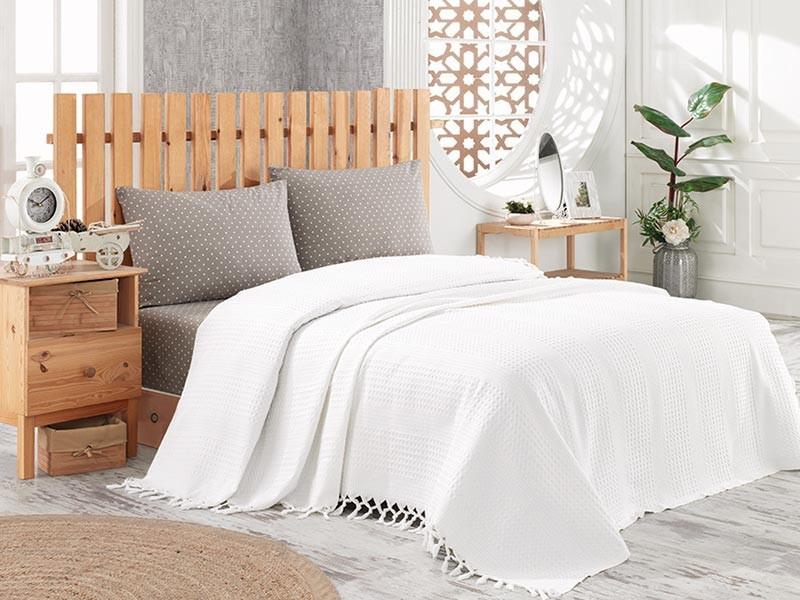 Cuvertura de pat pique, din bumbac 100%, pentru pat dublu 220x240 cm - Donna