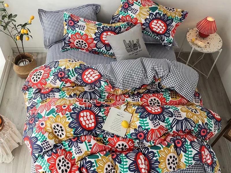 Lenjerie de pat pentru 2 persoane din bumbac satinat, L'atelier Creatif Pucioasa, cu 4 piese - Ella
