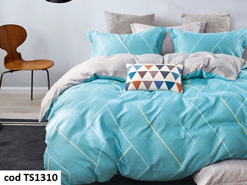 Lenjerie de pat pentru 2 persoane din bumbac finet, L'atelier Creatif Pucioasa, cu 4 piese - Anelys