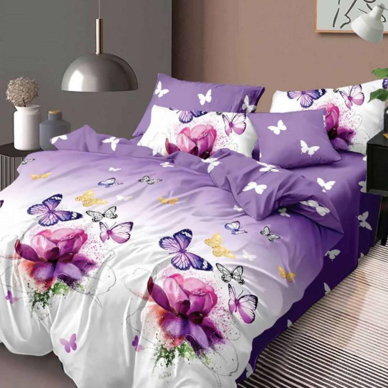 Lenjerie de pat bumbac finet, pentru 2 persoane, cu 6 piese, Ralex Pucioasa - Lora