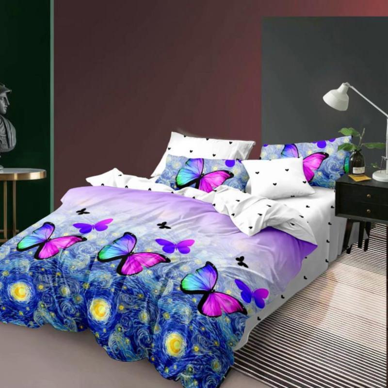 Lenjerie de pat bumbac finet, pentru 2 persoane, cu 6 piese, Ralex Pucioasa - Simina