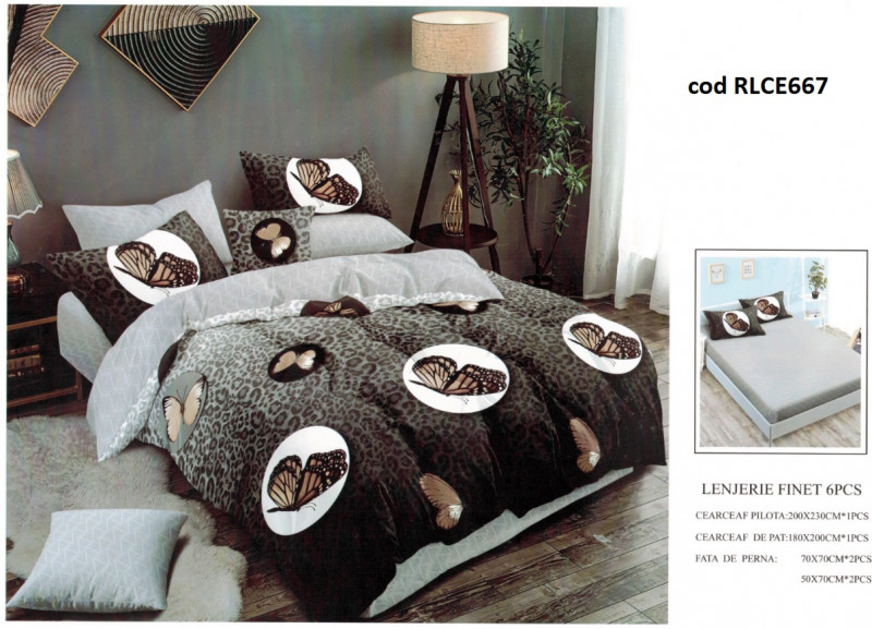 Lenjerie de pat bumbac finet, pentru 2 persoane, cu husa elastica pentru saltea 180x200 cm, 6 piese, Ralex Pucioasa - Amelia