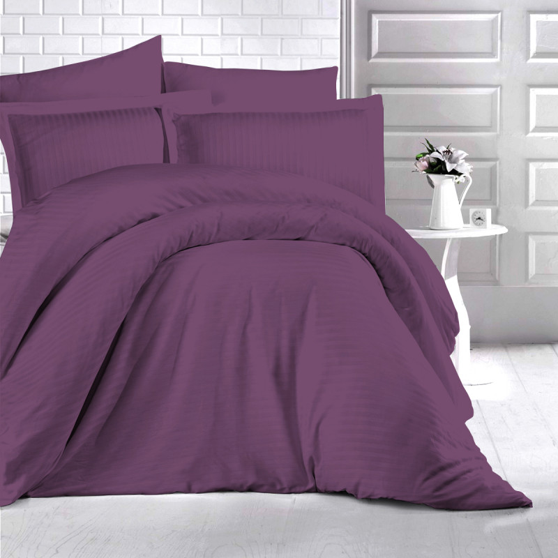 Lenjerie de pat Damasc, (Horeca) din bumbac 100%, pentru 2 persoane, Ralex Pucioasa - Denna