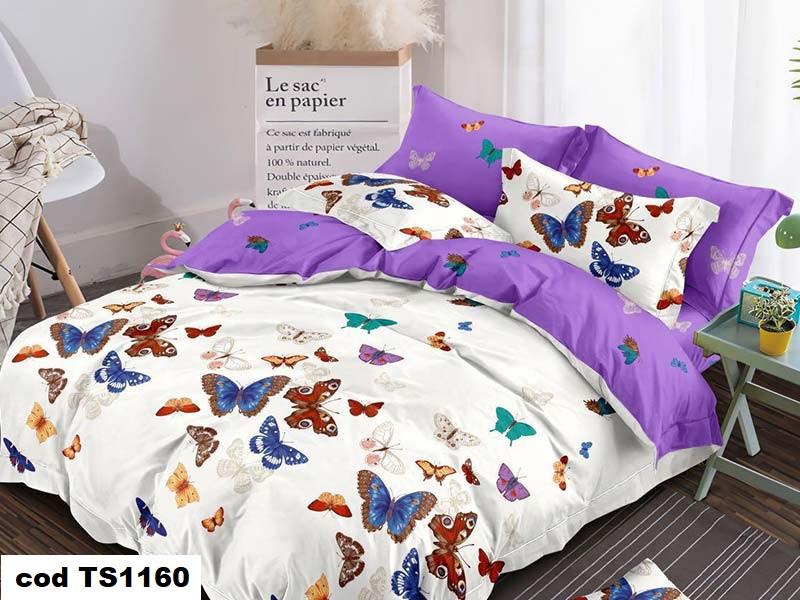Lenjerie de pat dublu (cearceaf cu elastic 180x200 cm) pentru 2 persoane din bumbac finet, L'atelier Creatif Pucioasa, cu 4 piese - Gia