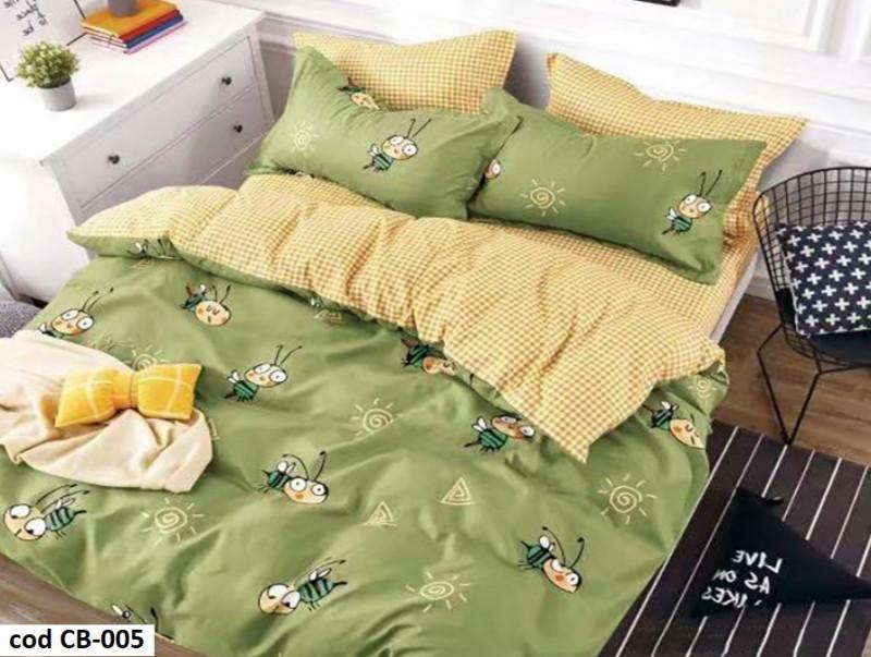 Lenjerie de pat dublu pentru 2 persoane din bumbac finet cu 6 piese - Dorothy