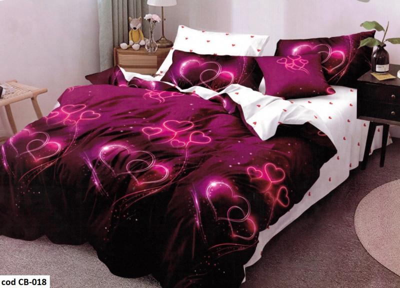 Lenjerie de pat dublu pentru 2 persoane din bumbac finet cu 6 piese - Tania