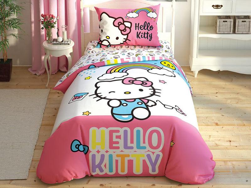 Lenjerie de pat pentru 1 persoana, 3 piese, TAC, din bumbac 100% - Hello Kitty