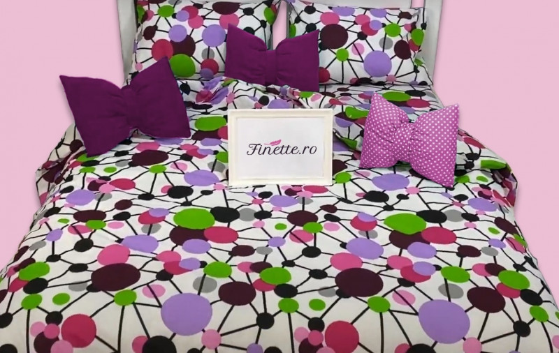 Lenjerie de pat pentru 1 persoana, din bumbac 100%, Armonia Textil - Nina