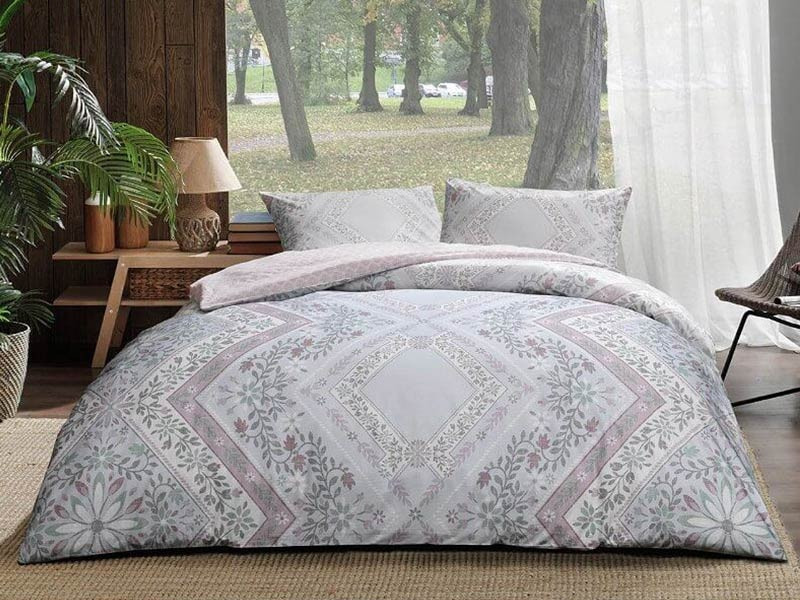Lenjerie de pat pentru 2 persoane, 4 piese, TAC, din bumbac 100% Ranforce - Ruana