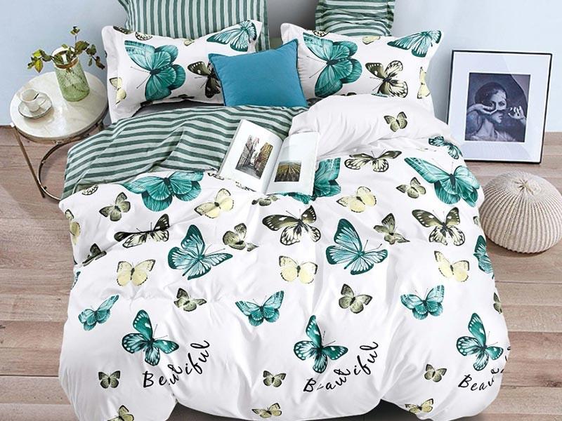 Lenjerie de pat pentru 2 persoane din bumbac satinat, L'atelier Creatif Pucioasa, cu 6 piese - Delia