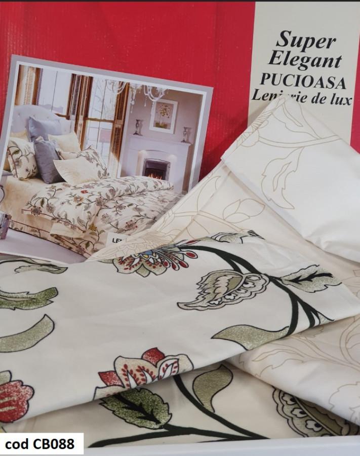 Lenjerie de pat Super Elegant Pucioasa, pentru pat dublu, 2 persoane, din bumbac finet, cu 4 piese - Sasha