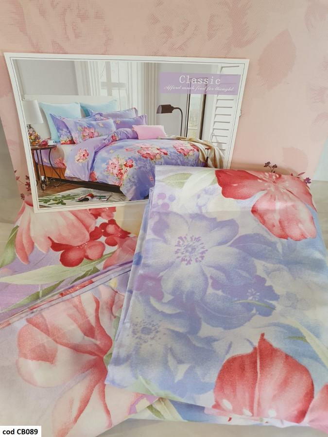 Lenjerie pentru pat dublu, 2 persoane, din bumbac finet, cu 4 piese - Sabrina