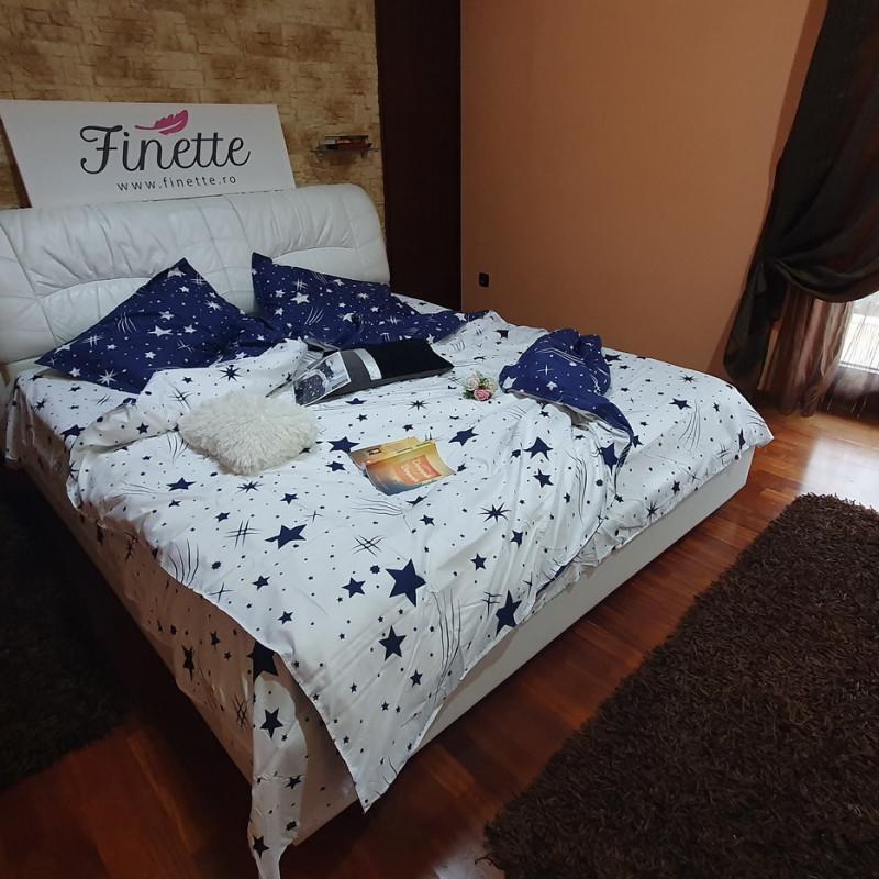 Lenjerie pentru pat dublu, 2 persoane, din bumbac satinat