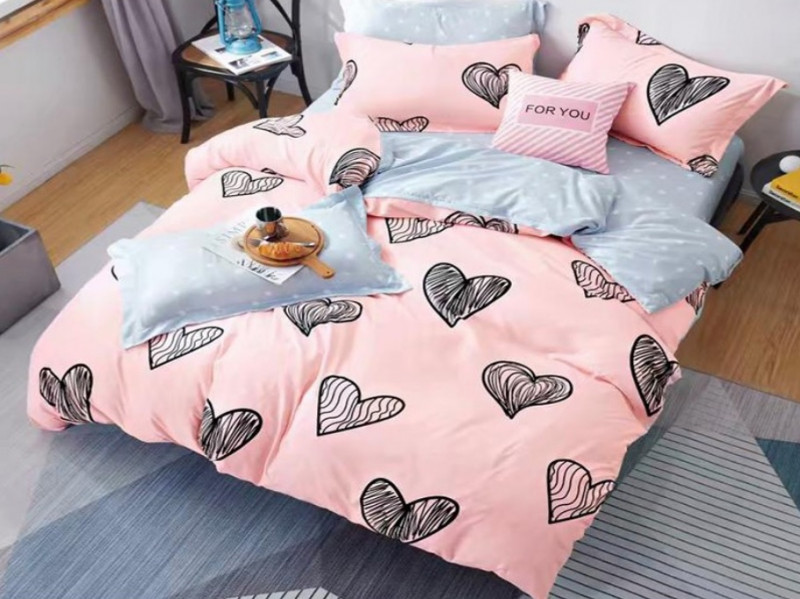 Lenjerie pentru pat dublu, 2 persoane, din bumbac satinat, cu 4 piese - Anais