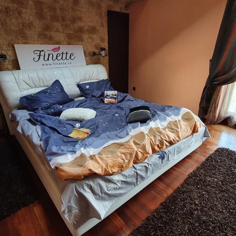 Lenjerie pentru pat dublu, 2 persoane, din bumbac satinat, cu 4 piese - Timna
