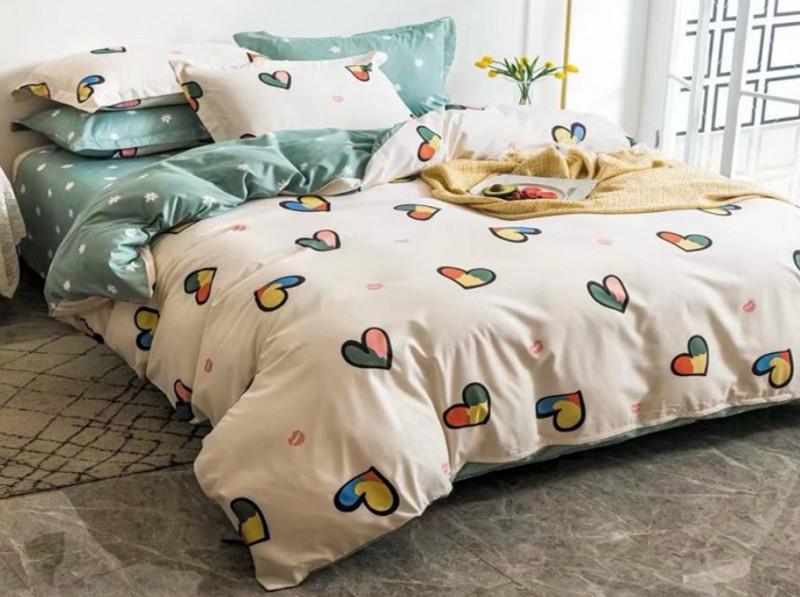 Lenjerie pentru pat dublu, 2 persoane, din bumbac satinat, cu 4 piese - Lety