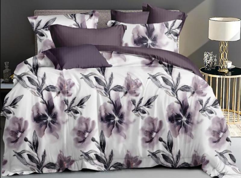 Lenjerie pentru pat dublu, 2 persoane, din bumbac satinat, cu 4 piese - Tania