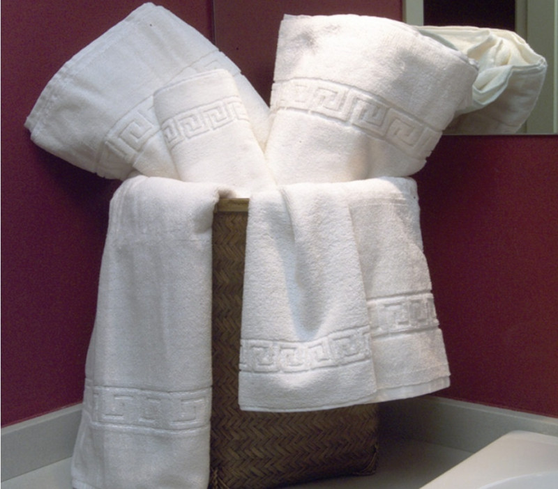 Set 3 prosoape de baie, alb Greek border din bumbac 100% Ralex Pucioasa