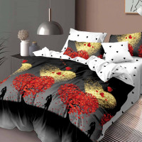 Lenjerie de pat bumbac finet, pentru 2 persoane, cu 6 piese, Ralex Pucioasa - Clara