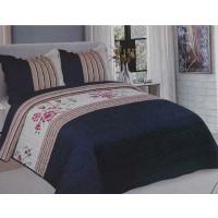 Cuvertura de pat reversibila din bumbac pentru pat dublu. 2 persoane, cu 3 piese - Delia