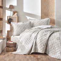 Cuvertura de pat dublu, matlasata, reversibila, pentru 2 persoane, cu 3 piese din bumbac 100%, Ralex Pucioasa - Clasy - Bella
