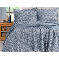 Cuvertura de pat dublu pentru 2 persoane din bumbac 100% Miss Mina (albastru)