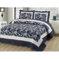 Cuvertura de pat reversibila din bumbac pentru pat dublu. 2 persoane, cu 3 piese - Lisa