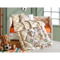 Lenjerie pentru patut de bebelusi, 4 piese - Cotton box, din bumbac 100% - Eli