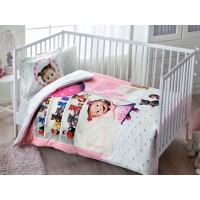 Lenjerie pentru patut de bebelusi, cu Masha si ursul, 4 piese, Tac, din bumbac 100% - Mina