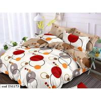 Lenjerie de pat bumbac finet (cearceaf cu elastic 180x200 cm), cu 6 piese, pentru 2 persoane, L'atelier Creatif Pucioasa - Beatrice