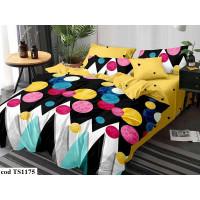 Lenjerie de pat bumbac finet (cearceaf cu elastic 180x200 cm), cu 6 piese, pentru 2 persoane, L'atelier Creatif Pucioasa - Selena