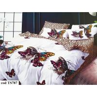 Lenjerie de pat bumbac finet, cu 6 piese, pentru 2 persoane, L'atelier Creatif Pucioasa - Mona