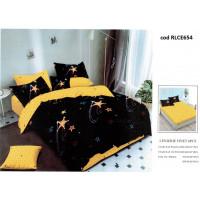 Lenjerie de pat bumbac finet, pentru 2 persoane, cu husa elastica pentru saltea 180x200 cm, 6 piese, Ralex Pucioasa - Hella