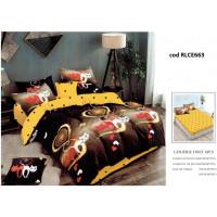 Lenjerie de pat bumbac finet, pentru 2 persoane, cu husa elastica pentru saltea 180x200 cm, 6 piese, Ralex Pucioasa - Sandra