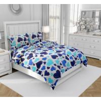 Lenjerie de pat dublu, din bumbac 100% neted, pentru 2 persoane, cu 4 piese Armonia Textil - Luana