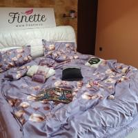 Lenjerie pentru pat dublu, 2 persoane, din bumbac satinat, cu 4 piese - Nadina