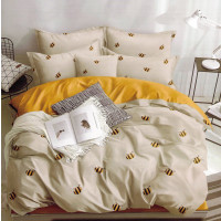 Lenjerie pentru pat dublu, 2 persoane, din bumbac satinat, cu 4 piese - Semida