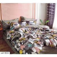 Lenjerie pentru pat dublu, 2 persoane, din bumbac satinat, cu 4 piese - Xena