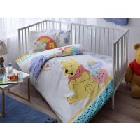 Lenjerie pentru patut de bebelusi, cu Winnie the Pooh, 4 piese, Tac, din bumbac 100%