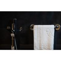 Prosop / covoras de baie pentru picioare, din bumbac 100% Greek border alb