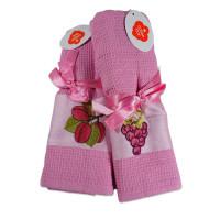 Set 2 prosoape de bucatarie roz, din bumbac 100%, Cotton box (45x70 cm) - Fructe