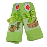 Set 2 prosoape de bucatarie verzi, din bumbac 100%, Cotton box (45x70 cm) - Fructe