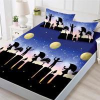 Set cearceaf de pat din bumbac finet cu elastic, 160x200 cm cu 2 fete de perna, Ralex Pucioasa Melisa