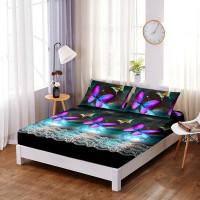 Set cearceaf de pat din bumbac finet cu elastic, 160x200cm cu 2 fete de perna, Ralex Pucioasa - Danusia
