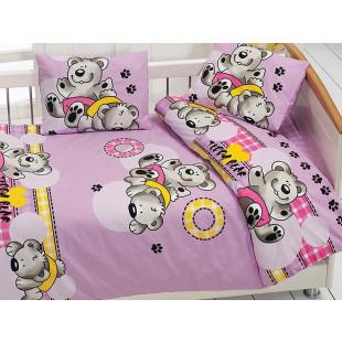 Lenjerie de pat pentru patut de bebe, 4 piese, Majoli, din bumbac 100% Ranforce - Bella