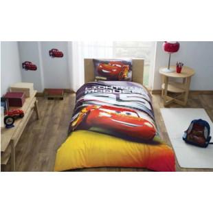 Lenjerie de pat pentru 1 persoana, 3 piese, TAC, din bumbac 100% - Cars Lightning McQueen