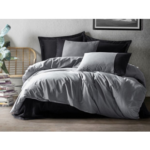 Lenjerie de pat pentru 2 persoane, 4 piese, gri | negru - Cotton box, din bumbac 100% - Catalin