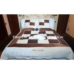 Cuvertura eleganta de pat dublu. pentru 2 persoane, din catifea, cu 3 piese - Elena
