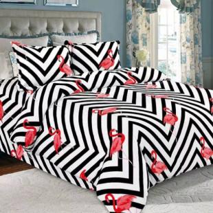 Lenjerie de pat pufoasa cocolino, pentru 2 persoane, 4 piese, Ralex Pucioasa - Flamingo